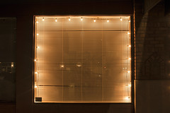 Blinds (Curtis Gregory Perry) Tags: salem oregon window christmas lights night long exposure venetian blinds yellow light nikon d810 glass pane frame closed