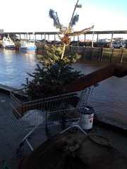 They Think It's All Over (RoystonVasey) Tags: apple iphone 5 newcastle upon tyne north tyneside shopping trolley christmas tree quayside