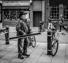 The Hustler (raymorgan4) Tags: hustler pool snooker cue billiards hall player leather jacket cowboy hat stmarystreet cardiff wales blackandwhite monochrome urban street bollards meating place restaurant fujifilm x100f fujifilmglobal