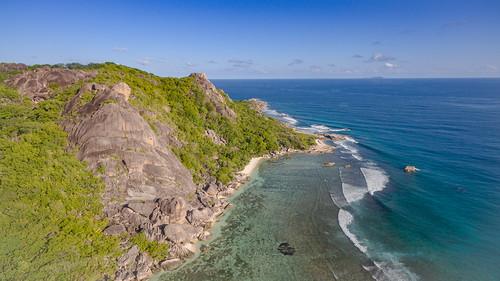 Strand Anse Source d'Argent Luftbild, La Digue Seychellen