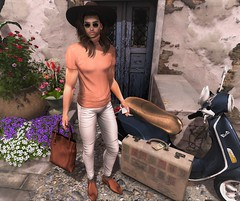 Travel Queen (EnviouSLAY) Tags: travel queen travelblog travelphoto travelscene photo scene secondlifefashion secondlifephotography flowers suitcase bag leather brown sienna white blush turtleneck hat longhair long hair brunette sunglasses oxfords jeans phone reign davidheather david heather newreleases new releases riot zoom doux famefemme fame femme straydog stray dog tmd themensdepartment tmj themensjail the mens jail belleza lelutka bento mensmonthly mensfashion mensfair mensevent monthly fashion event fair monthlymens monthlyfashion monthlyfair monthlyevent pale male gay blogger secondlife second life photography