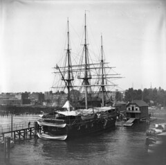 Hoboken Docks , New Jersey 1900 (foundin_a_attic) Tags: 1900 hobokendocks newjersey1900 nj newjersey hoboken waterfront docks hudsonriver river ship shipping ussportsmouth