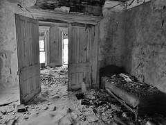 sweet dreams... (BillsExplorations) Tags: dreams sweetdreams abandoned abandonedhouse abandonediowa decay ruraldecay snow winter cold dark forgotten bed doors window oncewashome lonely discarded clinton iowa farm