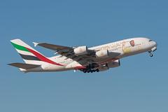 Emirates A380-861 A6-EUA (José M. Deza) Tags: 20180117 a380861 a6eua airbus bcn elprat emirates lebl planespotting spotter aircraft sticker