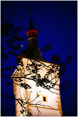 Romance in Light and Blue (Thomas Listl) Tags: thomaslistl color würzburg plant branches twigs sky blue darkblue light architecture romantic romance evening night nighttime saturation 100mm tower beautiulearth nightonearth