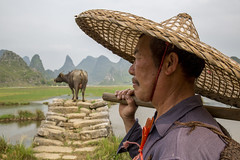 Buffalo farmer (Gregory Michiels Photography) Tags: guilin yangshuo buffalo farmer guangxi china portrait bamboo hat photography tour guide explore travel discover