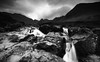Cascade (-- Q --) Tags: fairypools isleofskye glenbrittle carbost waterfall blackcuillins blackwhitephotos lee09softgrad lee06softgrad marumidhgcpl landscape scottishhighlands scotland water rocks mountains sky clouds