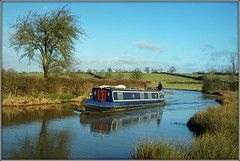 'Quinquireme' (Jason 87030) Tags: quinquireme narrowboat water still ripples blue color colour tree sheep grass cut canal oxford northants local northamptonshire walk scene view nice cloud weather february 2018 sony alpha a6000 ilce nex crt trust pleasant uk england leisure boating
