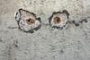 Walls Have Not Only Ears (gripspix (OFF)) Tags: rottweil detail wall wand render verputz dübellöcher holes eyes augen imagination einbildungskraft