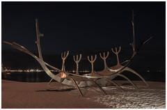 Sun Voyager at Night (Bora Alioglu) Tags: reykjavik sun voyager night iceland statue viking vessel strand sea star light aluminium art nikon d750 tamron full frame