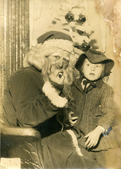 My sister seeing Santa Claus ABT 1948 (hbk1955) Tags: christmastime santaclaus 1940s child vintage