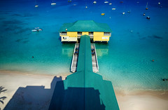 Colorful Pier in Barbados (` Toshio ') Tags: toshio barbados pier bridgetown sand beach caribbean restaurant sea ocean boat shoreline fujixe2 xe2 island
