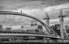 High up (femmaryann) Tags: bridge salfordquays salford manchester mediacity daredevil runner blackandwhite moody brave foolish thelowry