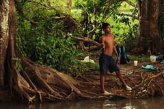 (eflon) Tags: boy fishing rainforest river costa rica cr line
