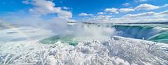 Niagara Falls - Ice, snow and rainbow (AncasterZ) Tags: panorama niagarafalls winter snow ice stitch microsoftice laowa15mmf2 a7rii a7rm2 falls waterfalls