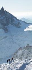 Descending the arête at Aiguille du Midi (wicks_photo) Tags: aiguilledumidi alpinists chamonix climbers montblanc mountains panorama snow