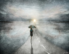 the road taken . . . (YvonneRaulston) Tags: road sun sunset rain raindrops tree lady girl woman umbrella wet sky path shadow atmospheric art bokeh creativeartphotography creative calm colour clouds dream dusk desaturated emotive evening texture peaceful person fineartgrunge fog figures glow icm impressionist impact light moody moments mist mysterious soft sony photoshopartistry surreal street sundown watercolour