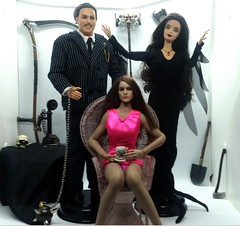 Morticia and Gomez with... guest. (Cremdon) Tags: morticia addams 16actionfigures 16scale barbie tbleague phicen 16 actionfigures