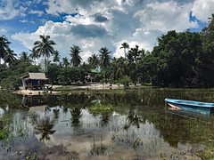 Thailand Koh Phangan Insel | Island | Palmen | palm trees (flashpacker-travelguide.de) Tags: asien asia thailand insel kohphangan palmen palmtrees wasser water see spiegelung reflection himmel sky wolken clouds boot boat lake