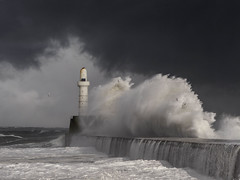 Beast from the East (burnsmeisterj) Tags: olympus omd em1 aberdeen breakwater scotland beastfromtheeast waves lighthouse sea rough