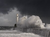 Beast from the East (burnsmeisterj) Tags: olympus omd em1 aberdeen breakwater scotland beastfromtheeast waves lighthouse sea rough