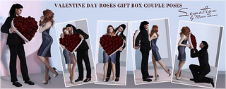 SEmotion ~ Frosensum Valentine Roses Gift Box Couple Poses - 5 couple BENTO poses with roses heart box