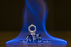 Forged in fire (DoctorTimbo) Tags: macro macromonday canon100mmmacrol fire flame flames surgicalspirit blue alcohol nut forged mechanical