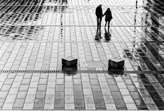 Gentle (Guido Klumpe) Tags: rain reflection kontrast contrast gegenlicht shadow schatten silhouette couple hannover hanover monochrome einfarbig bw sw blanco negro bn schwarz weis black white leonegraph streetphotographer public öffentlich leben lebendig story urban photography spontan spontanious candid unaware unposed personen sitaution street 2017 europe europa germany deutschland