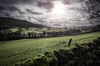 'Breakthrough!' Peak District, England (Aethelweard) Tags: grindleford england unitedkingdom gb vista view scenery rain storm clouds fields trees dales sun peakdistrict wall old efs1018mm f4556 is stm
