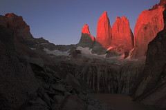 Torres Del Paine Sunrise (Darren Schiller) Tags: patagonia torresdelpaine sunrise rockformation mountains andes lake alpine granite southamerica chile
