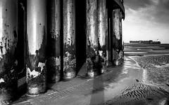 (see it, shoot it) Tags: fortperchrock wirral beach mono bw newbrighton weathered pillar column monoconversion