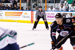 """Kansas City Mavericks vs. Florida Everblades, February 18, 2018, Silverstein Eye Centers Arena, Independence, Missouri.  Photo: © John Howe / Howe Creative Photography, all rights reserved 2018 • <a style=""""font-size:0.8em;"""" href=""""http://www.flickr.com/photos/134016632@N02/40387904181/"""" target=""""_blank"""">View on Flickr</a>"""