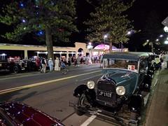 Art Deco by Night (Kevin Fenaughty) Tags: people outdoor building soundshell artdeco street tree car night napier newzealand