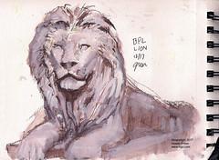 Boston Public Library lion statue sketch (Howie Green) Tags: boston public library lion fountain stataue sketch sketchbook