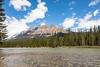 Castle Mountain Over Bow River (Chuck - PhotosbyMCH) Tags: photosbymch landscape castlemountain banffnationalpark alberta canada 2017 canon 5dmkiv bowriver mountains snow trees river outdoors travel