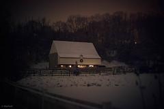 night barn (Jen MacNeill) Tags: night barn bank light lights snow winter white horses lancaster pa museum landisvalleymuseum landisvalley rural country farm