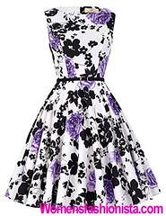 Knee-Length High Waist Floral Vintage Classy Pinup Prom Dresses (M, Floral 48#) (womensfashionista) Tags: 48 classy dresses floral high kneelength pinup prom vintage waist
