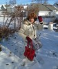 Frozen In Wisconsin (Laurette Victoria) Tags: milwaukee leggings winter snow purse coat boots gloves auburn woman laurette