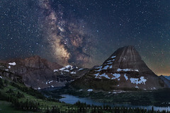 Bear Hat and the Milky Way (Cindy Beckett) Tags: stars milkyway glaciernationalpark night landscape nightscape lake water mountain bearhat hidden loganpass montana