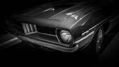 MOTORFEST '17 (Dave GRR) Tags: cuda barracuda auto vehicle classic american muscle car vintage show motorfest canada omd em1 1240 2017 black white monochrome chrome