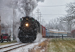 Next Stop: The North Pole! (Wheelnrail) Tags: pere marquette 1225 owosso steam institute train trains michigan snow winter polar express locomotive rail road railroad rails passenger north pole