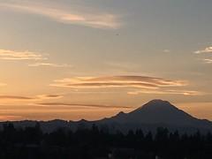 Mount Rainier at sunrise (will white will white) Tags: tahoma microclimate dormantvolcano volcano winter sunrise thelink linklightrail airport seattle seatac themountain rainier mountrainier
