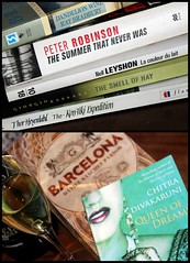 December reading (overthemoon) Tags: books livres bouquins lecture reading collage seven titles cava barcelona