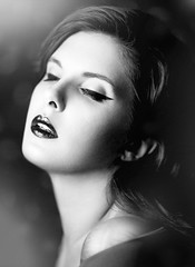 In dreams (Giulia Valente) Tags: portrait portraiture woman beauty beautiful alone cinematic cinema movie story romance romantic one looking light shadow dark beam darkness mood moody atmosphere low key dream inspiring blackandwhite blackwhite monochrome mono