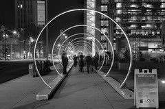 At the speed of sound (PeterThoeny) Tags: sanjose california siliconvalley sanfranciscobay sanfranciscobayarea sonicrunway light art lightart sound soundart visualization speedofsound corridor ring circle led monochrome blackandwhite sony sonya7 a7 a7ii a7mii alpha7mii ilce7m2 fullframe vintagelens dreamlens canon50mmf095 canon 1xp raw photomatix hdr qualityhdr qualityhdrphotography people street fav200