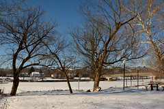The Frozen Muskingum (thoeflich) Tags: snowylandscape harmarvillage harmar harmarfootbridge borailroadbridge snowfall snowscape marietta muskingumriver ohio ohioriver