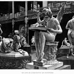 Paris Exposition Universelle, 1900 - Un coin de l'exposition de sculpture (main figure is Jean-Antoine Injalbert (1845-1933) - Amour au colombes (c1890)) Engraving, 1900 thumbnail