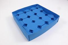 Monument Valley Corrugation (back) (Michał Kosmulski) Tags: origami corrugation tessellation box octagons michałkosmulski tantpaper blue