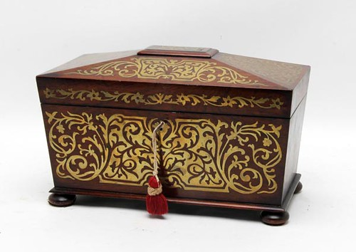 19th C. Regency Rosewood Tea Caddy w/ Inlaid Brass ($756.00)