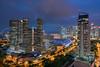 Singapore Skyline (leslie hui) Tags: twilight skyscraper buildings cityscape architecture bluehour singapore marinabay city marinabaysingapore